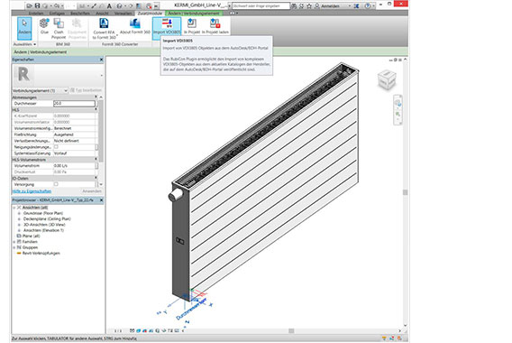 Kermi Building Information Modeling Daten für REVIT Connector